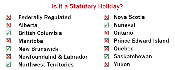 August stat holiday by jurisdiction