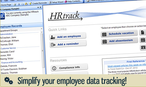 HRtrack software screen shot