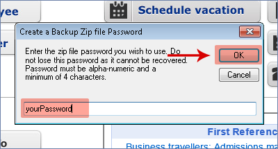 screenshot of password selection