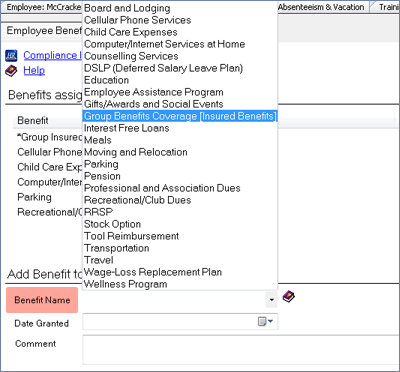 screenshot of add benefit to employee section