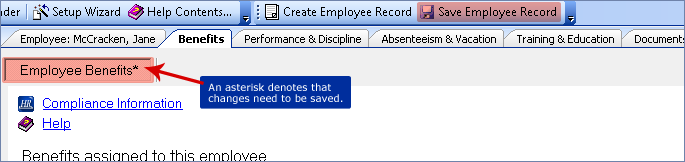 screenshot of saving the employee record
