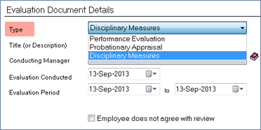 screenshot of add employee evaluation document