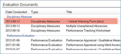 screenshot of evaluation documents