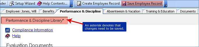 screenshot of saving employee record