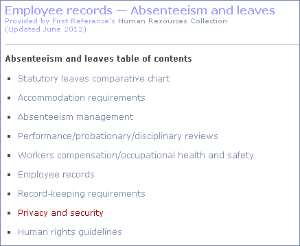 absenteeism compliance page
