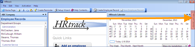 screenshot of calendar tab