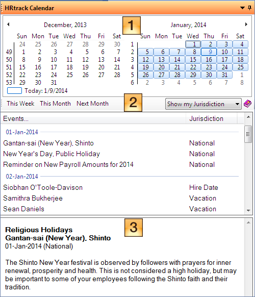 screenshot of calendar details