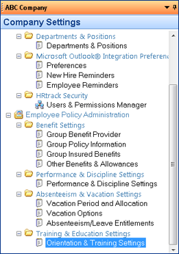 screenshot of orientation and training in company settings