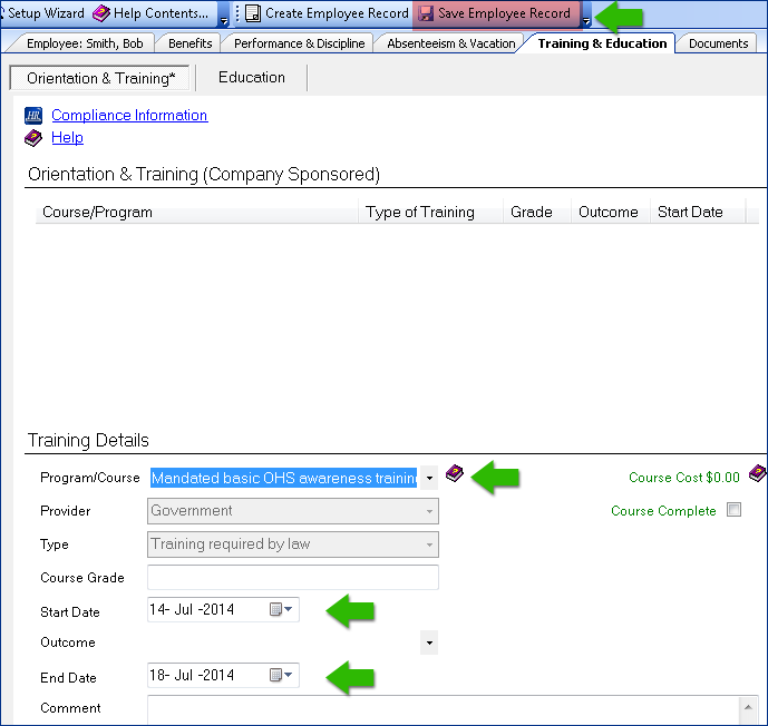 screenshot of assigning a course to an employee